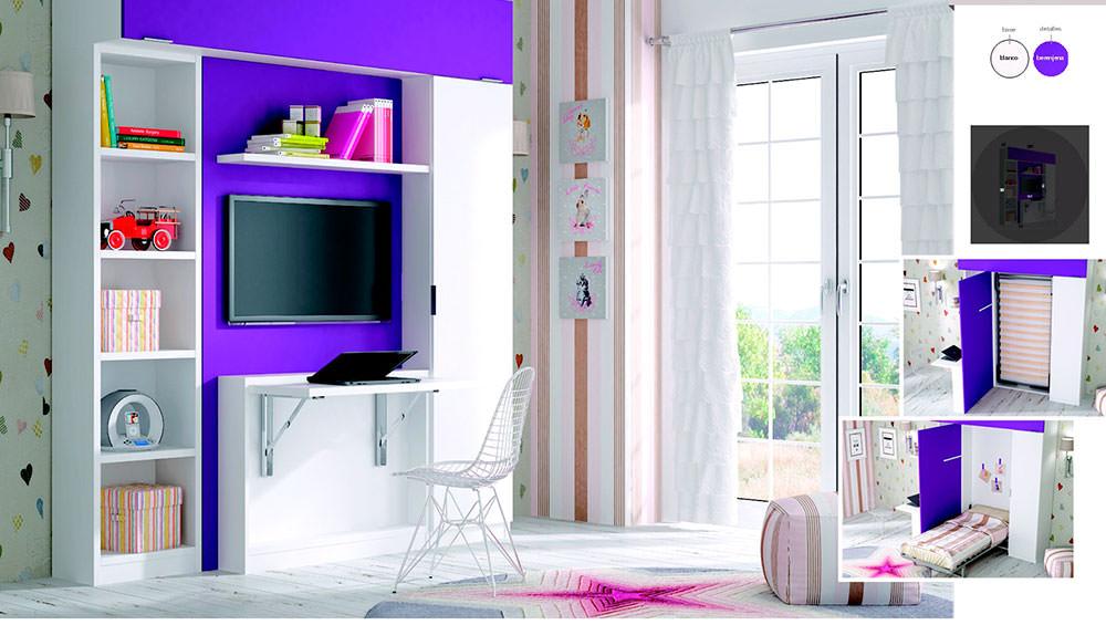 Aparador Mdf ~ Cama abatible vertical con armario, librería y zona TV