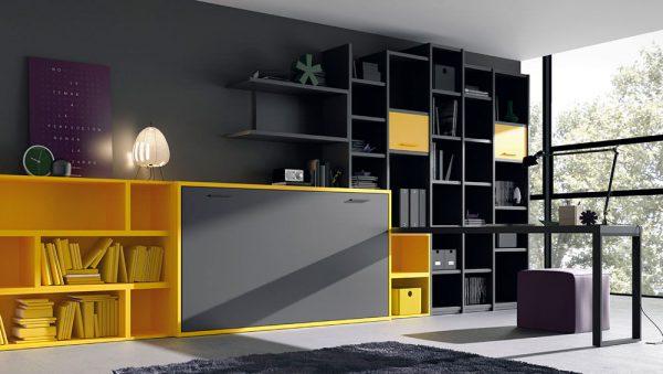 Cama abatible horizontal con múltiples estanterías