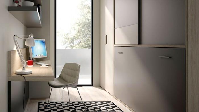 Cama abatible para ahorro espacio habitaciones peque as - Habitaciones camas abatibles ...