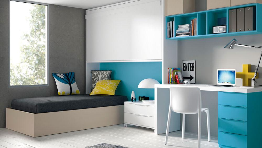Dormitorio juvenil de cama abatible con cama fija - Cama abatible infantil ...