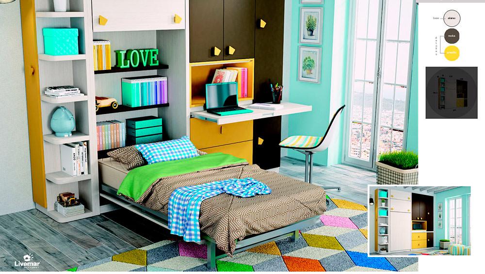 Cama abatible vertical con armario y mesa de estudio extra ble - Mesas de estudio abatibles ...
