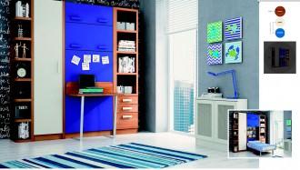 Cama abatible vertical con mesa, armario y estanterías