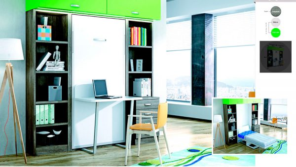 Cama abatible vertical con mesa de estudio