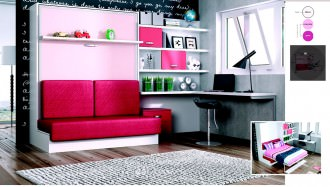 Sofá cama abatible vertical de matrimonio con escritorio y estanterías