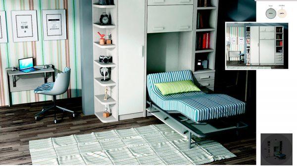 Cama abatible vertical articulada con armario