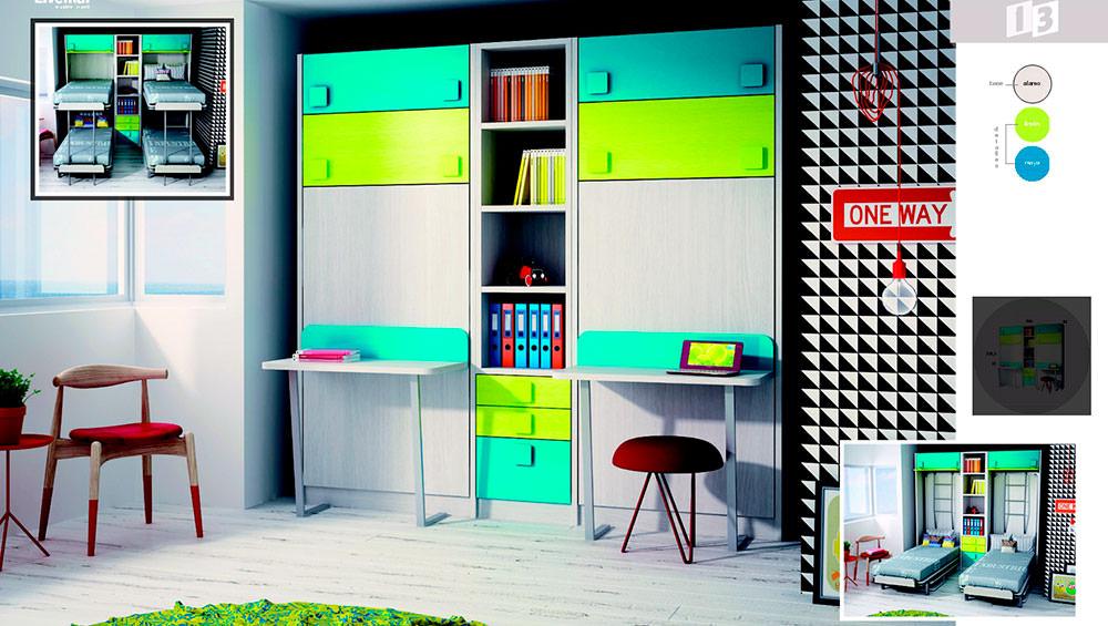 Mueble con dos camas abatibles verticales dormitorio juvenil for Mueble juvenil cama abatible
