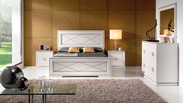 Dormitorio Selene blanco con cabecero y pie, elegante y moderno
