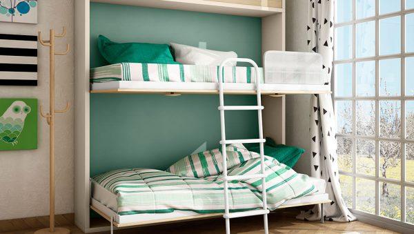 Dormitorio con litera abatible horizontal