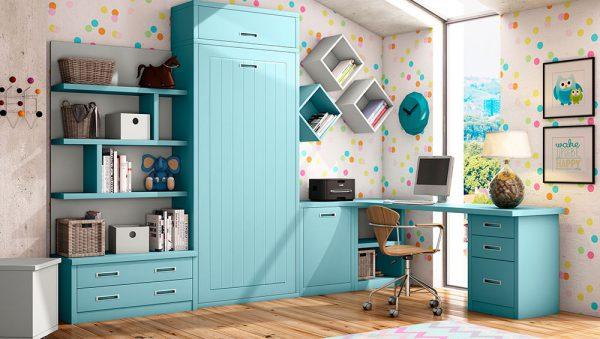 Dormitorio infantil como cama abatible vertical