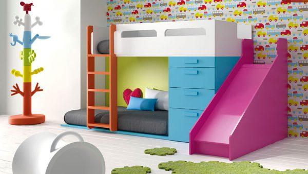 Dormitorio Juvenil con literas y tobogán