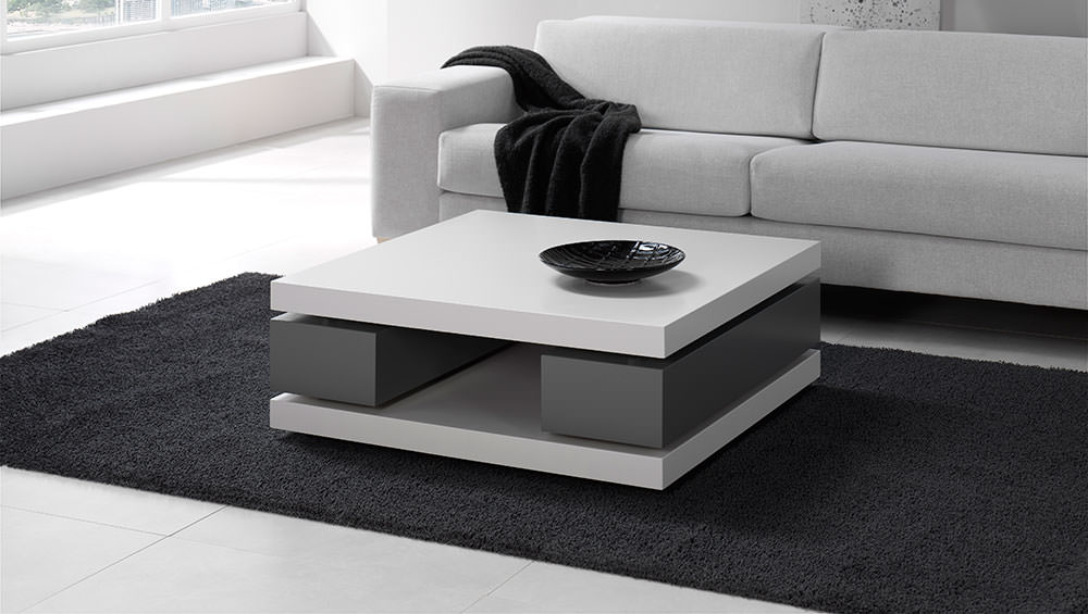 mesa de centro moderna en blanco y negro