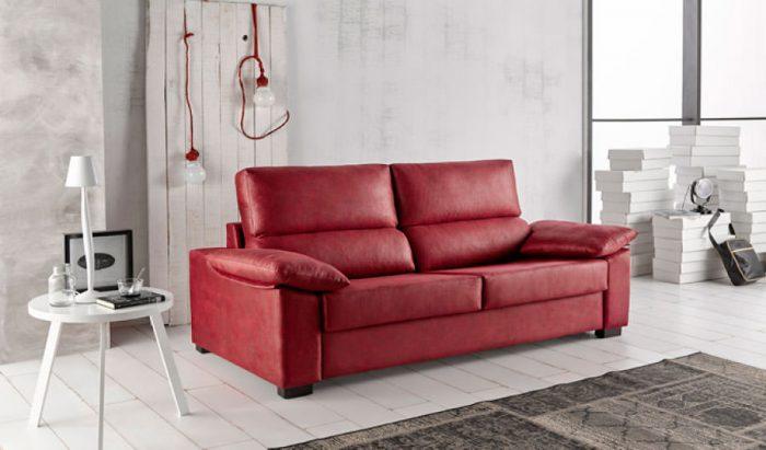 Sofá Cama Leyre tapizado en rojo