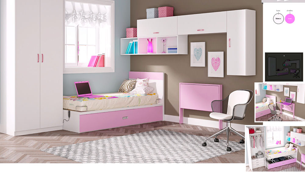 Dormitorio juvenil composici n 61 muebles zhar for Composicion dormitorio juvenil