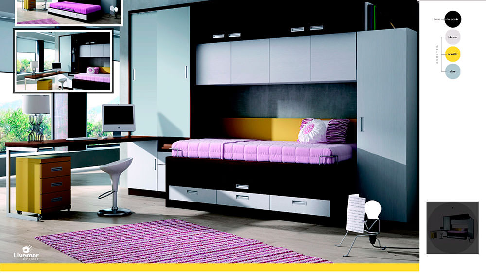 Dormitorio juvenil composici n 66 muebles zhar for Composicion dormitorio juvenil