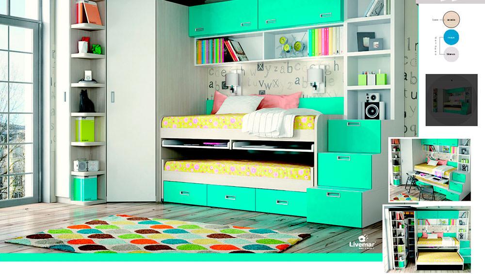 Dormitorio juvenil con mesa de estudio y dos camas - Mesa de estudio juvenil ...