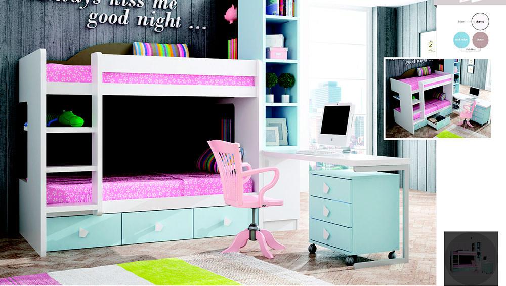 Dormitorio juvenil para ni as composici n 74 muebles zhar for Composicion dormitorio juvenil