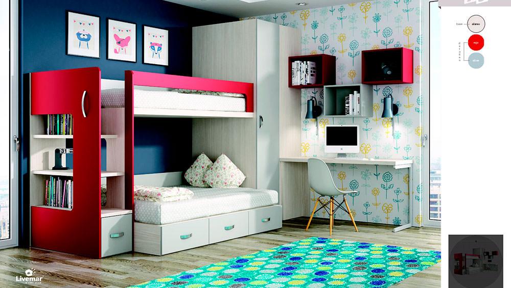 Dormitorio juvenil con literas y escritorio - Dormitorio juvenil con escritorio ...