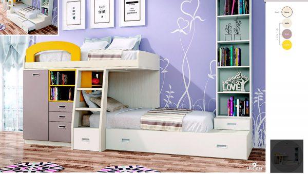 Dormitorio Juvenil doble con literas
