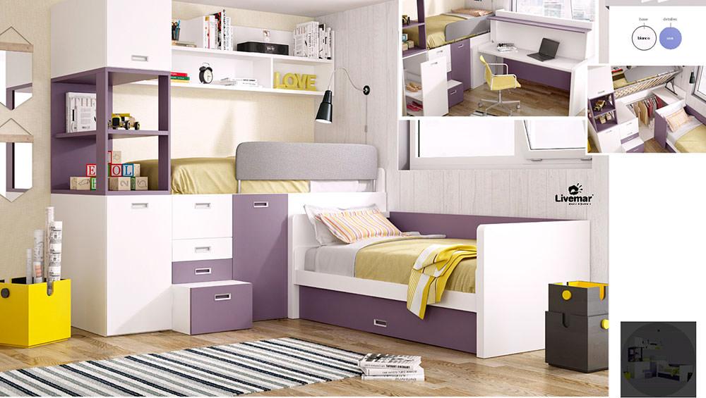Dormitorio juvenil moderno composici n 78 muebles zhar for Composicion dormitorio juvenil