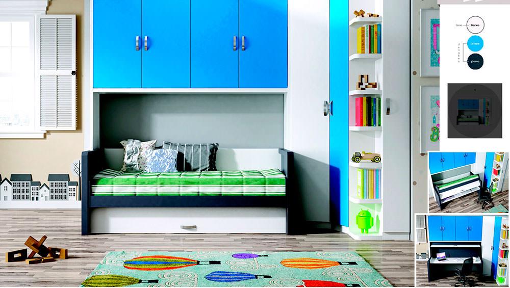 Dormitorio juvenil blanco muebles zhar for Composicion dormitorio juvenil