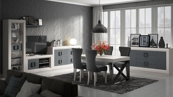 Sal n comedor enzo moderno con muebles auxiliares for Muebles el fabricante
