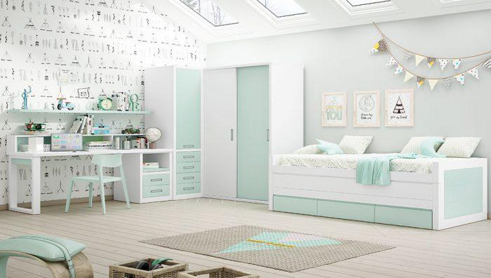 Dormitorio juvenil blanco agua del fabricante Pinero y Cabrero