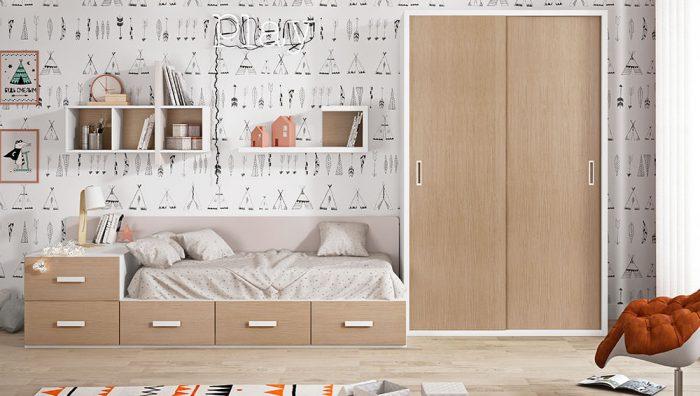 Dormitorio juvenil blanco blanco perla roble del fabricante Pinero y Cabrero