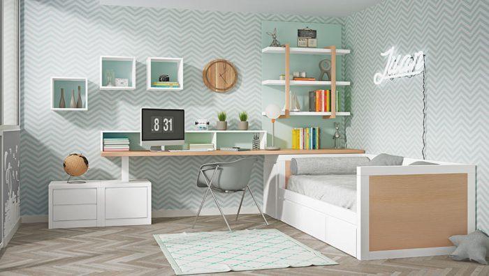 Dormitorio juvenil blanco roble agua del fabricante Pinero y Cabrero