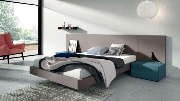 Dormitorio matrimonio  cabecero liso  color titanio del fabricante Lagrama
