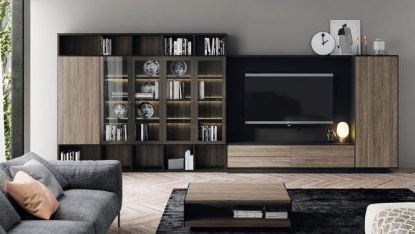 Composición salon Addbox-Addliving con vitrinas del fabricante Lagrama